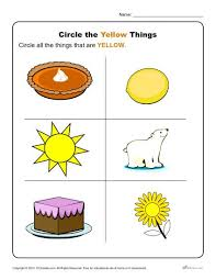 the yellow things preschool color worksheets