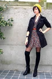 black boots brown dresses black coats yellow hats black socks