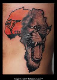 outline lion face in african map tattoo on full back afrocentric