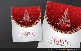 shiny greeting card happy new year vector free download