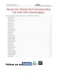 honda car models and corresponding car dvd gps autodvdgps