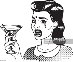 martini woman vintage retro crying woman drinking martini line art icon vector