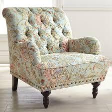 Tufted Arm Chair Design Ideas Blue Floral Armchair Nailhead Trim Armchairs And Arms