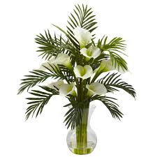 27 inch artificial calla lily u0026 palm combo in vase multiple