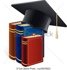 graduation books graduation cap with books isolated on white black vector