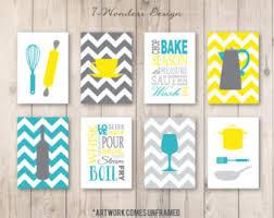 Gray And Yellow Kitchen Ideas Turquoise Yellow Art Etsy