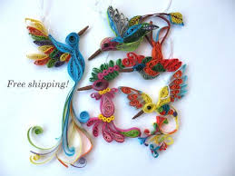 free shipping quilling hummingbird decor hummingbird print