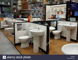 bathroom suites on display in a b u0026 q store stock photo royalty
