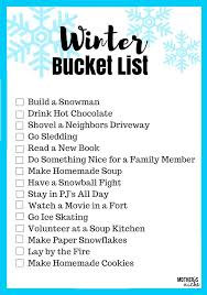 creating memories a winter family list printable