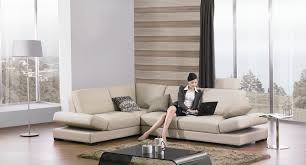 Laminated Timber Floor Modular Khaki Leather Chesterfield Sectional With Cushions And