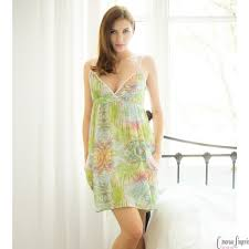 ladies cottonreal batiste cotton night dress lounger spring fern