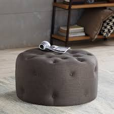 Grey Tufted Ottoman Myria Round Tufted Ottoman Gray American Home Furniture Store