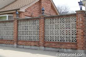Decorative Concrete Pillars Brick Fence With Concrete Blocks And Lights On Pillars Interunet