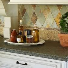Harlequin Backsplash - unique multi color travertine mixed kitchen backsplash tile from