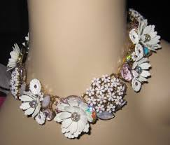 statement necklace with flower images Betsey johnson gold tone multi stone summer flower statement jpg