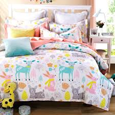 Full Duvet Cover Dimensions 3 Pieces Rabbit Deer Wouldland Forest Friends Flowers Pink Bedding