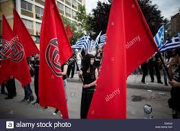 Golden Dawn Flag Thessaloniki Greece 15th June 2014 Golden Dawn Supporters Hold