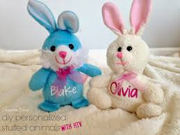 personalized easter bunnies adding htv to stuffed animals heat press or iron silhouette school