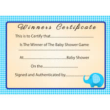 baby shower blue elephant winner certificate party savvy
