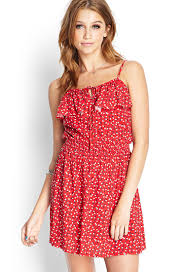 forever 21 floral print flounce dress in red lyst