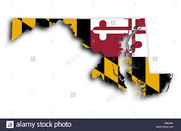 map of maryland map of maryland filled with the state flag stock photo royalty
