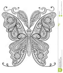 hand drawn magic butterfly for anti stress coloring page