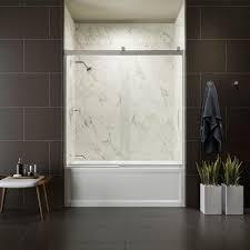 Bathtub Doors Home Depot by Kohler Levity 60 In X 62 In Semi Frameless Sliding Tub Door In