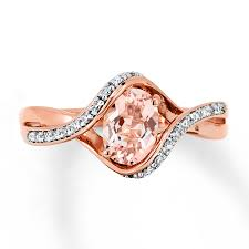 gold and morganite ring morganite ring 1 10 ct tw diamonds 10k gold