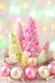 pastel colored trees and decoration stock photo picture