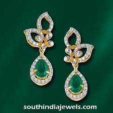 earrings in grt fancy diamond emerald earrings from grt south india jewels