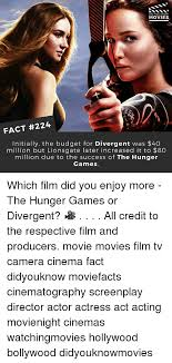 The Hunger Games Memes - did you know movies fact 224 initially the budget for divergent