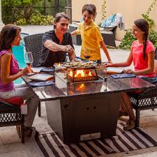 madrid 48 inch fire pit table with cooking package by firetainment