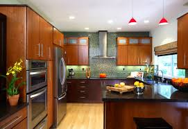 exquisite japanese kitchen design with varnished brown wooden exquisite japanese kitchen design with varnished brown wooden cabinet and black granite countertop also two red