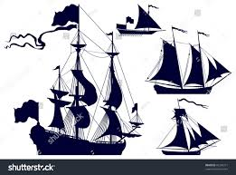 sailing ships vector silhouettes frigate galley stock vector