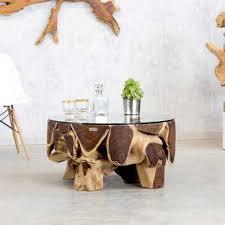 wohnzimmer glastisch runder wohnzimmer glastisch wurzelholz wohnen de