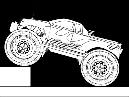 monster truck stunt black white line art coloring sheet colouring