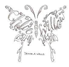 name tattoos made into a butterfly shape design tattoomagz