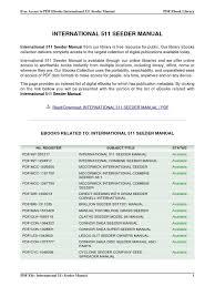 international 511 seeder manual