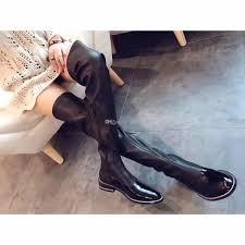 ladies long biker boots thigh high boots rivets stretch fabric flat heel women moto