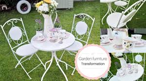 Metal Garden Table Painting Metal Garden Furniture French Shabby Chic Style Diy