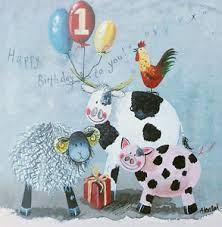 Cow Birthday Card 1st Birthday Card Farm Animals Birthday Card By Alex Clark Pig