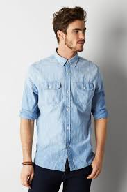 american eagle outfitters light blue denim workwear shirt where