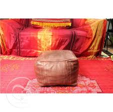 Moroccan Home Decor Ottoman Appealing Light Brown Square Leather Pouf Home Decor