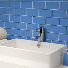 bathrooms design navy blue subway tile mosaic tile backsplash