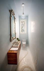 swirls of artistry aglow in powder room