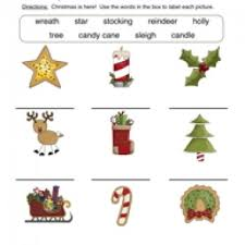 christmas words worksheet matching