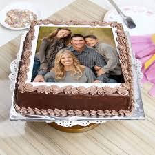 photo cakes square shaped 1 kg chocolate personalised photo cake eggless