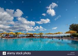 a beautiful swimming pool near the beach of kardamena kos stock