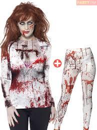 ladies zombie top leggings halloween fancy dress costume
