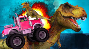 Dinosaurs Cartoons For Children Monster Trucks Vs Sharks Funny